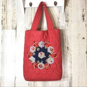 Vintage Hand Stitched Quilted Tote Purse
